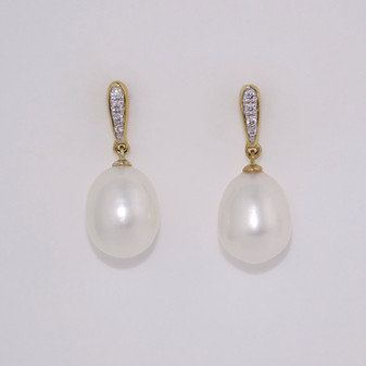 9ct gold pearl and diamond drop earrings