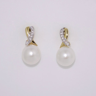 9ct Yellow Gold Pearl & Diamond Earrings ER11454