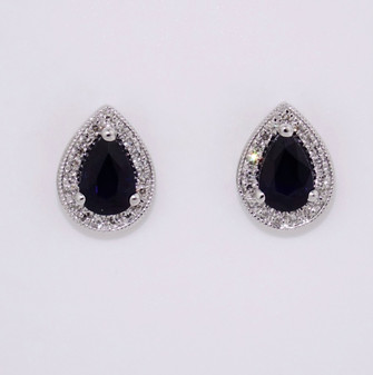9ct White Sapphire & Diamond Earrings ER11610
