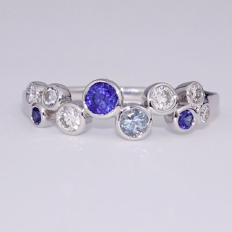 18ct white gold diamond, aquamarine and sapphire bubble ring