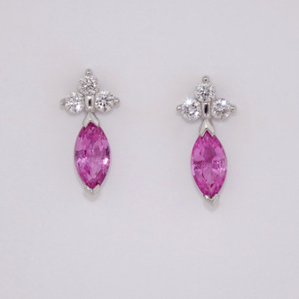 18ct White Gold Pink Sapphire & Diamond Earrings ER7173