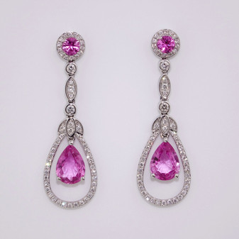 Pink Sapphire & Diamond Earrings ER10029