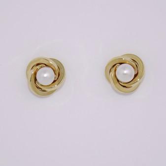 9ct Yellow Gold Pearl Stud Earrings ER11531