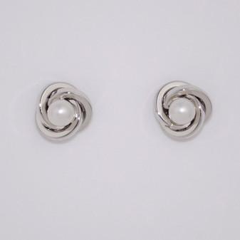 9ct White Gold Pearl Earrings ER11532