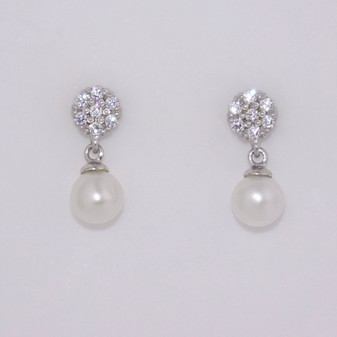 9ct white gold pearl and CZ drop earrings