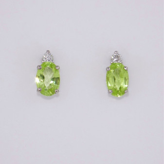 9ct White gold chrysoberyl and diamond stud earrings