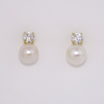9ct yellow gold pearl and CZ earrings ER11146