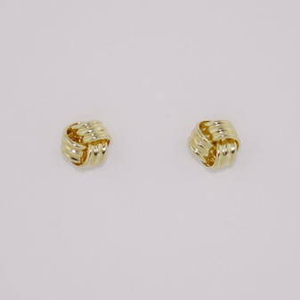 9ct yellow gold small knot earrings ER11588