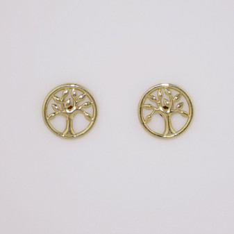 9ct Yellow Gold Tree of Life Stud Earrings ER11597