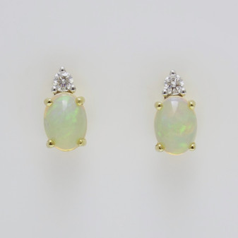 9ct yellow gold Ethiopian Water Opal & Diamond Earrings