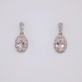 9ct white gold morganite & diamond earrings ER10645