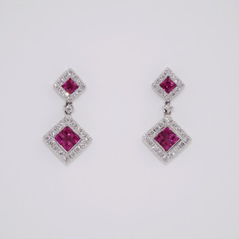 18ct White Gold Ruby & Diamond Earrings ER9056