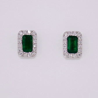 18ct gold emerald and diamond cluster stud earrings ER11647