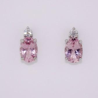 9ct white gold morganite and diamond earrings