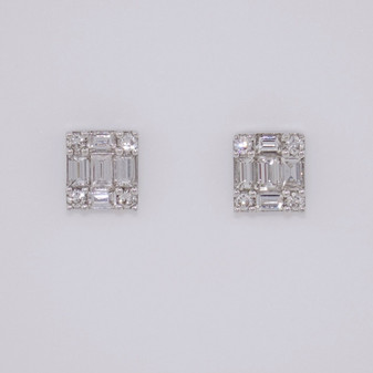 9ct white gold round brilliant cut and baguette cut diamond earrings ER11359