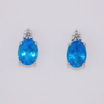 9ct white gold apatite and diamond earrings