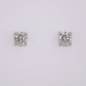 18ct white gold round brilliant cut diamond solitaire stud earrings