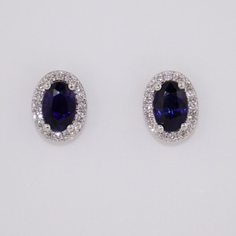 18ct gold sapphire and diamond stud earrings
