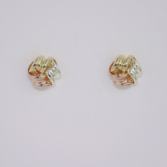 9ct yellow, rose and white gold three part knot stud earrings