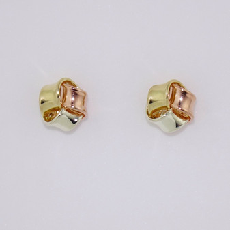 9ct yellow, rose and white gold three part knot stud earrings ER11352