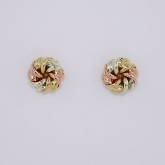 9ct yellow, rose and white gold six part circular knot stud earrings ER11002