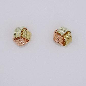9ct yellow, rose and white gold three part textured knot stud earings ER10998