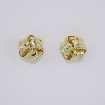 9ct yellow gold large knot earrings ER11582