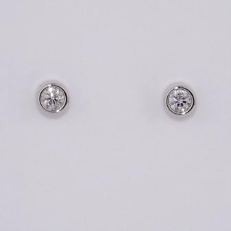 9ct white gold diamond stud earrings in a rubover setting ER10560