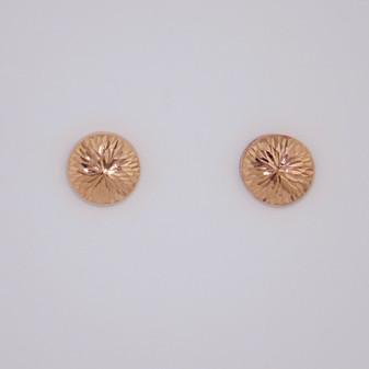 9ct rose gold flat diamond cut stud earrings ER11365
