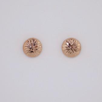 9ct rose gold flat stud earrings with diamond cut finish ER11595