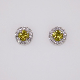 9ct white gold Mali garnet and diamond cluster stud earrings ER10901