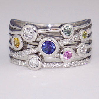 18ct white gold sapphire and diamond bubble ring