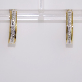 9ct yellow gold diamond-set hoop earrings ER10855