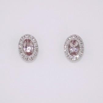 9ct white gold morganite and diamond cluster stud earrings ER10644