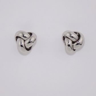 9ct white gold large knot stud earrings