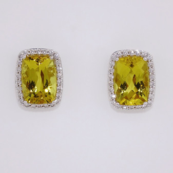18ct white gold heliodor and diamond earrings ER8571