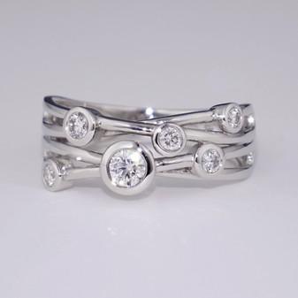 Platinum four strand diamond bubble ring