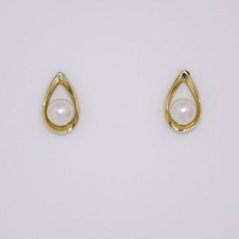 9ct gold open pear shaped earrings wth pearl ER11600