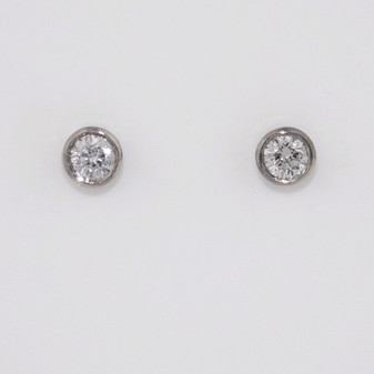 9ct white gold diamond earrings in rubover settings ER11058