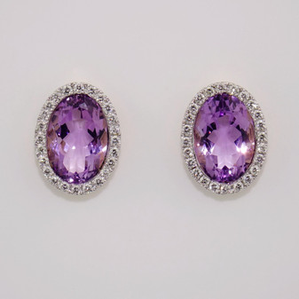 18ct amethyst & diamond cluster earrings ER8829