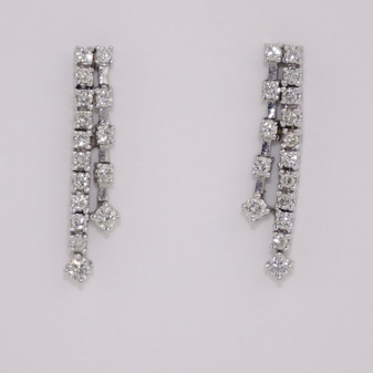 Diamond Two Row Drop Earrings ER9562