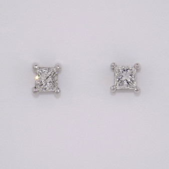 18ct white gold princess cut diamond solitaire stud earrings ER5007