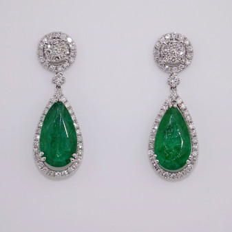 18ct white gold pear cut emerald and diamond drop earrings ER11359