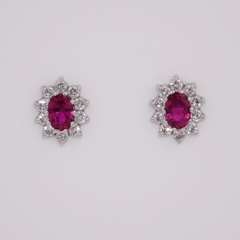 18ct ruby and diamond oval cluster stud earrings ER2594
