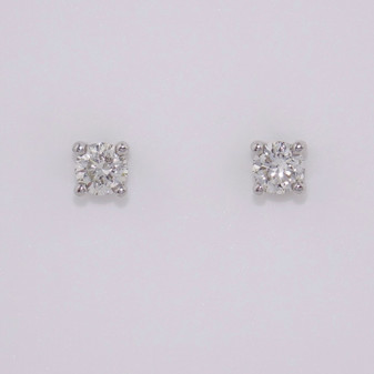 9ct white gold round brilliant cut diamond solitaire stud earrings ER10610