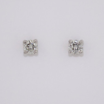 18ct white gold round brilliant cut diamond solitaire stud earring ER11357