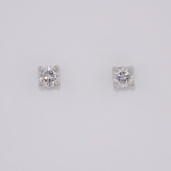 9ct white gold round brilliant cut diamond solitaire stud earrings ER11120