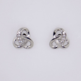 9ct white gold Celtic knot cubic zirconia (CZ) stud earrings ER11041