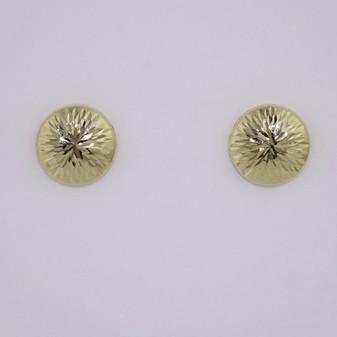 9ct yellow gold flat diamond cut stud earrings ER11684
