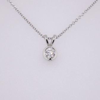 18ct white gold diamond solitaire pendant PE5053